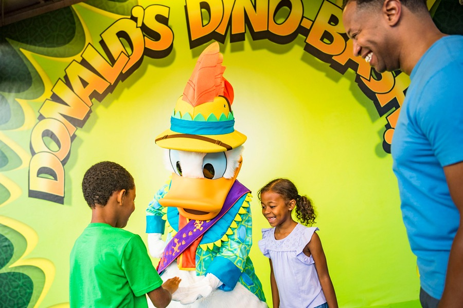 Guests meet Donald Duck during Donald's Dino-Bash! at Disney's Animal Kingdom park
