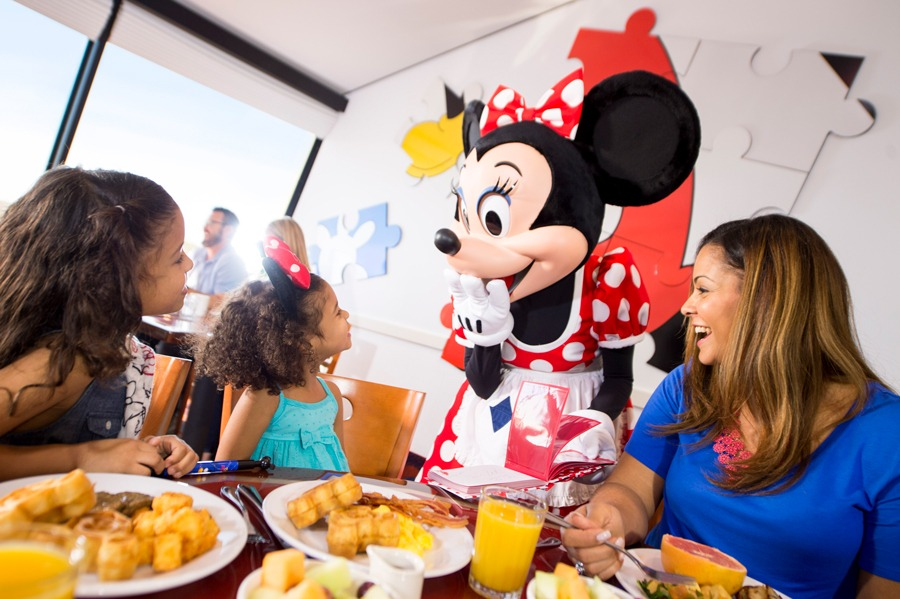 Minnie Mouse greets guests at Chef Mickey's
