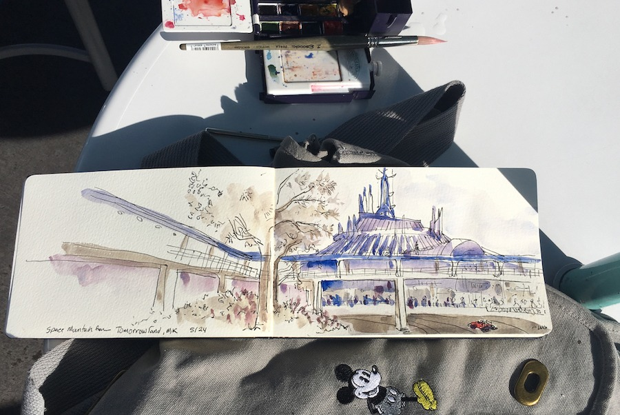 Sketch of Space Mountain by Artist Will Gay