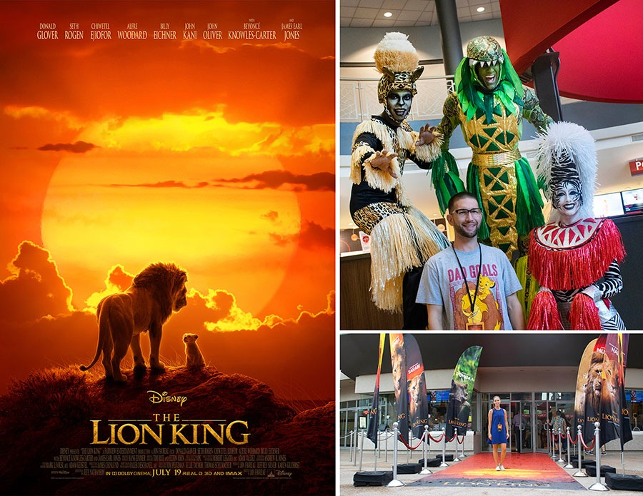 Lion King 2019 movie poster, photos of Disney Parks Blog readers at AMC theaters at Disney Springs.