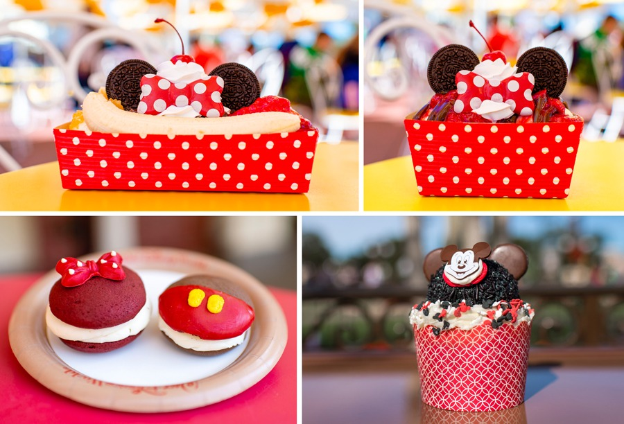 Mickey and Minnie offerings at Magic Kingdom Park - The Main Street Split, Minnie Sundae, Mickey and Minnie Whoopie Pie Duo and Mousketeer's Cupcake
