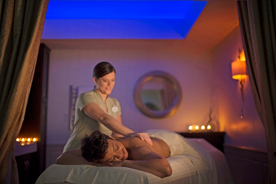 Woman getting a massage at Senses - A Disney Spa