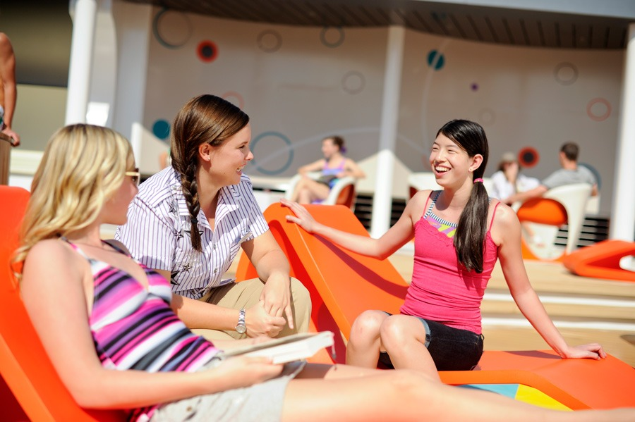 Girls on sun-chairs at Disney Cruise