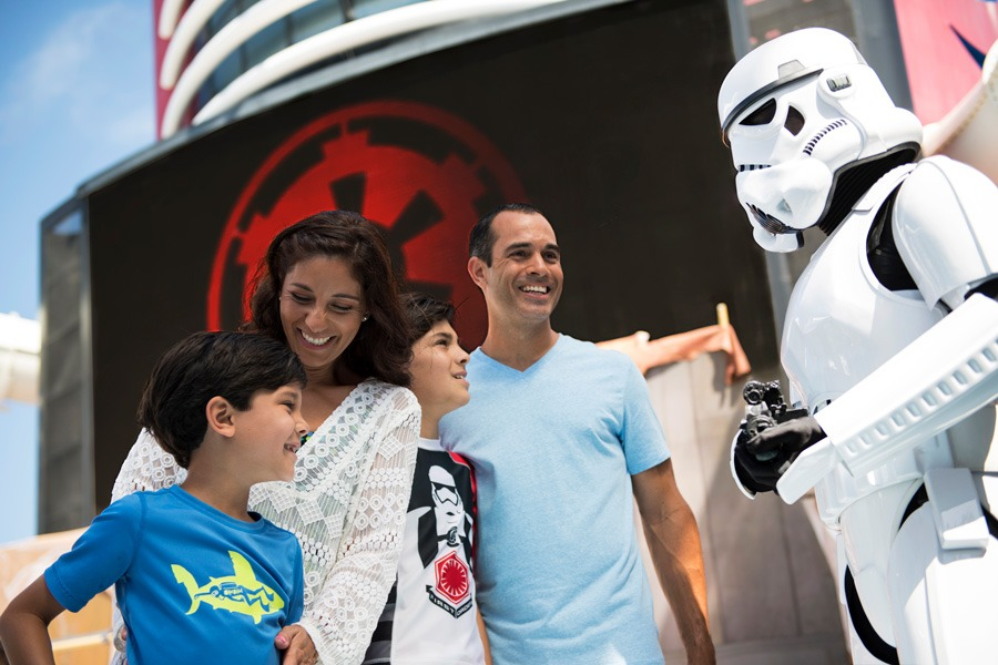 Family and stormtrooper on a Disney Cruise