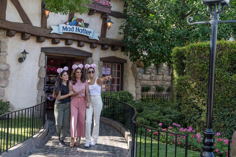 Bibi, Ana Paula and Alejandra visiting The Mad Hatter at Disneyland Resort