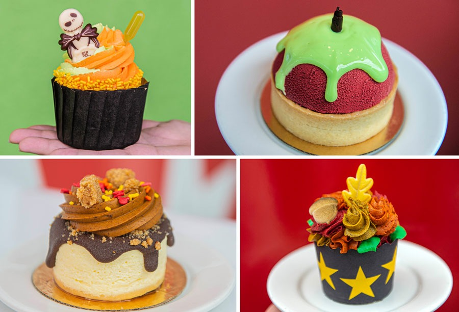 Fall Offerings at Disney's All-Star Resorts: Jack's Hallow-Lime Cupcake; Queen's Poisoned Apple Tart; Pumpkin Pie Cheesecake; Chai Tea Cupcake