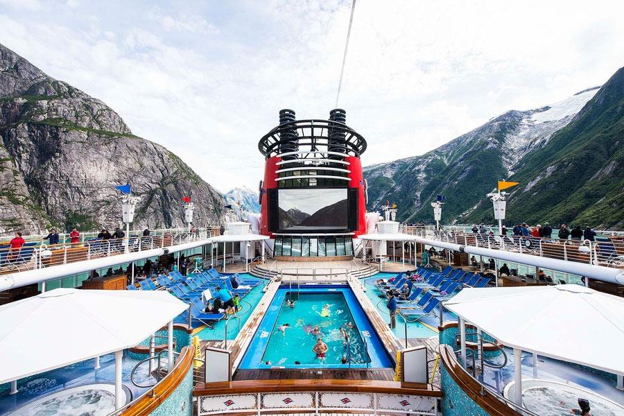 Disney Wonder in Alaska - View of pool from top deck
