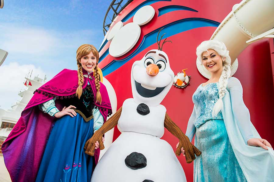 Frozen characters aboard Disney Cruise Line ships
