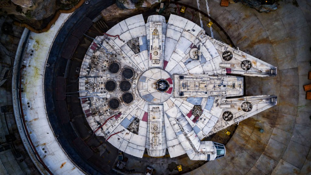 Bird's-Eye View of the Millennium Falcon in Star Wars: Galaxy's Edge