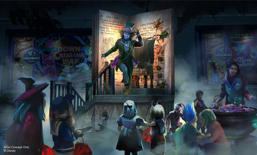 "Artist rendering of Immersive Treat Trail with Mad Hatter from Tim Burton's ""Alice in Wonderland"" at Oogie Boogie Bash – A Disney Halloween Party at Disney California Adventure park"