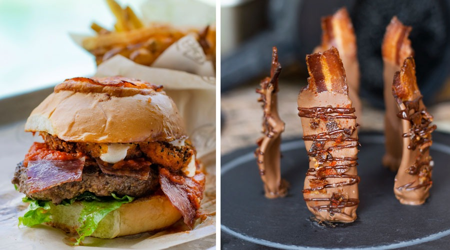Pizza Burger from D-Luxe Burger and Temple of Bacon from Jock Lindsey's Hangar Bar at Disney Springs