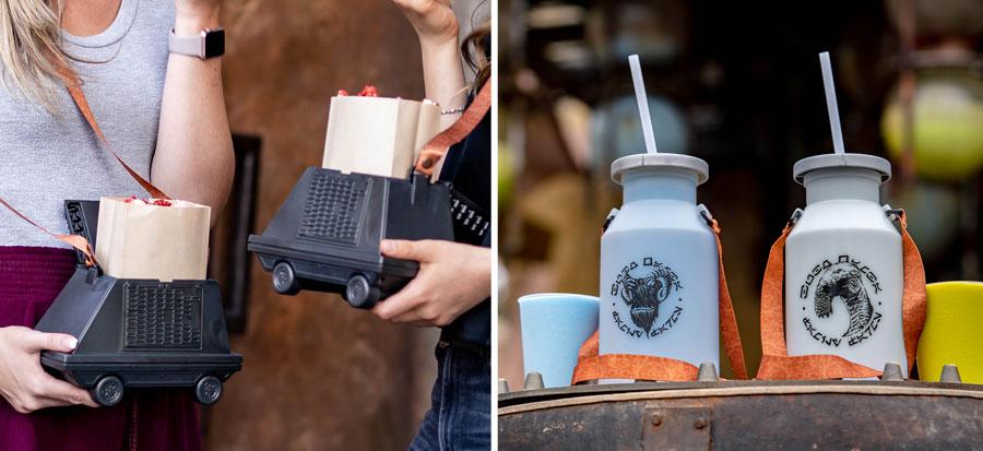 Droid Popcorn Bucket at Souvenir Milk Jugs from Star Wars: Galaxy's Edge at Disneyland Park