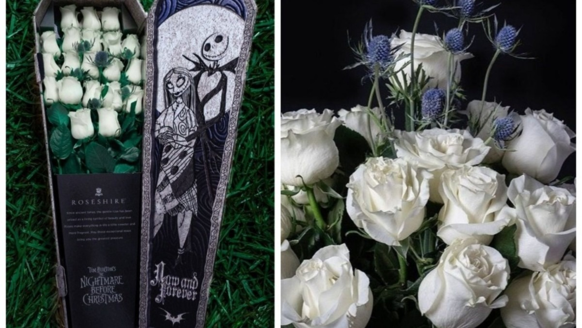 This 'Nightmare Before Christmas'-Themed Rose Bouquet Comes In A Tiny Coffin 1
