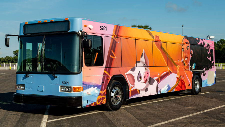 Walt Disney World bus featuring Moana and Pua