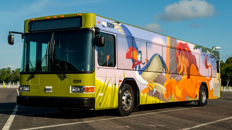 Walt Disney World bus featuring Simba and Zazu
