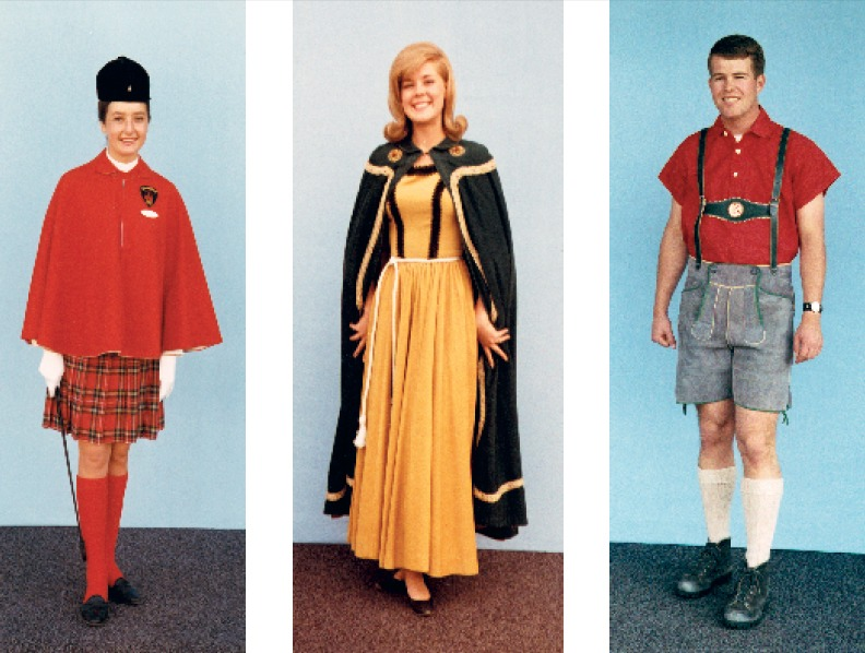These early 1960s Cast Member wardrobe photos document then-current apparel for a Tour Guide, a Fantasyland Hostess, and a Matterhorn Bobsleds Host. © Disney