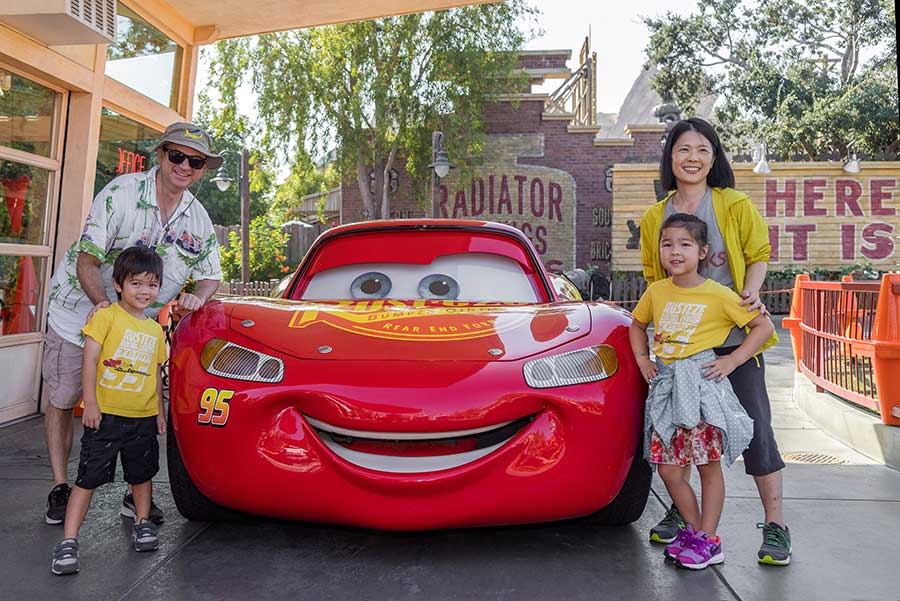 Family with Lightning McQueen