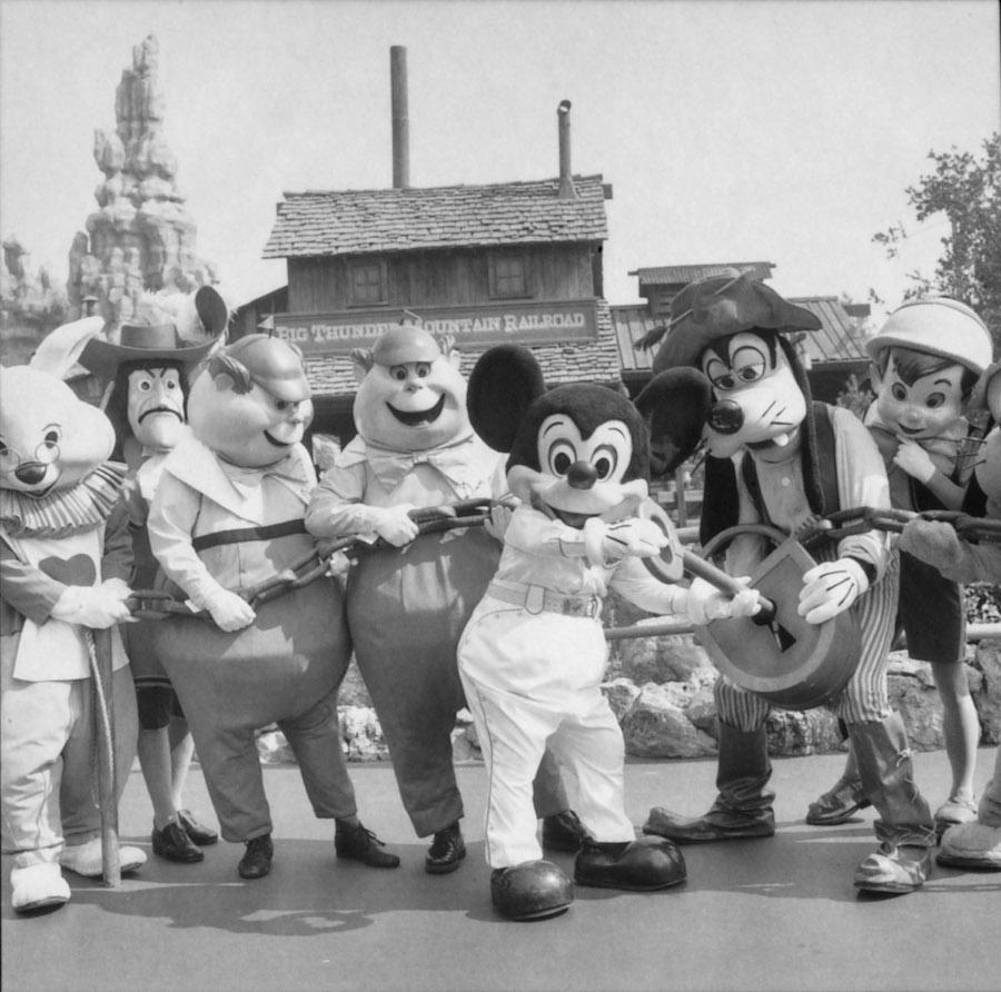 Mickey Mouse and friends at Big Thunder Railroad at Disneyland park