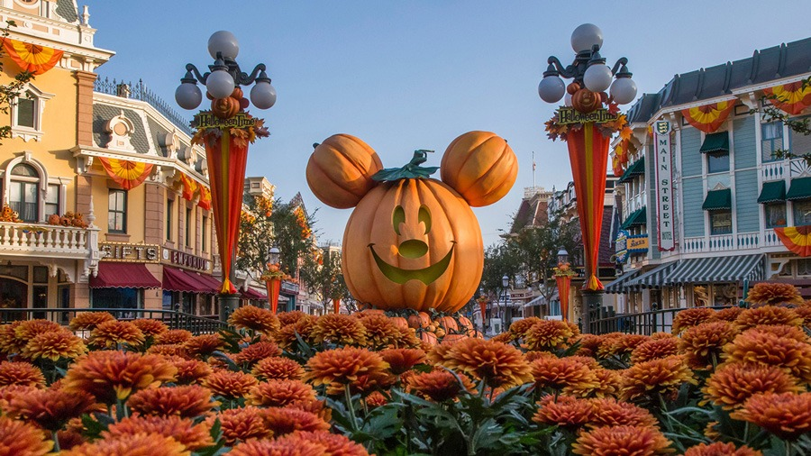 iconic Mickey-shaped pumpkin on Main Street, U.S.A. at Disneyland park
