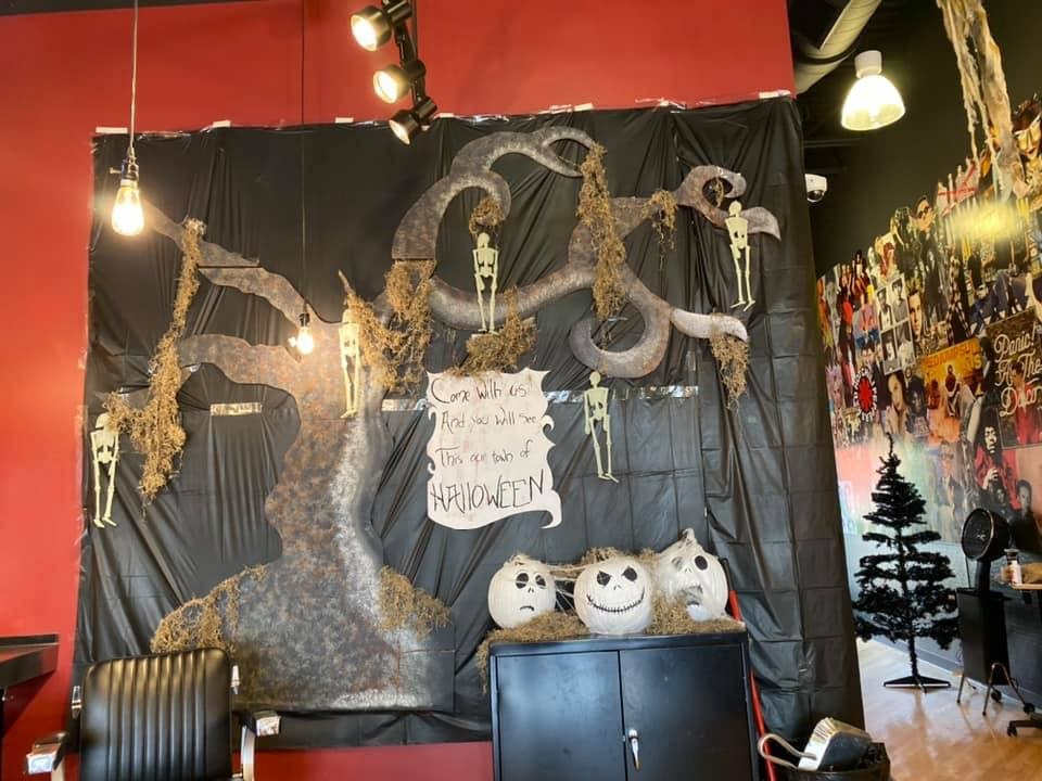 This is Halloween... at the Salon! Amazing Nightmare Before Christmas Decor! 6