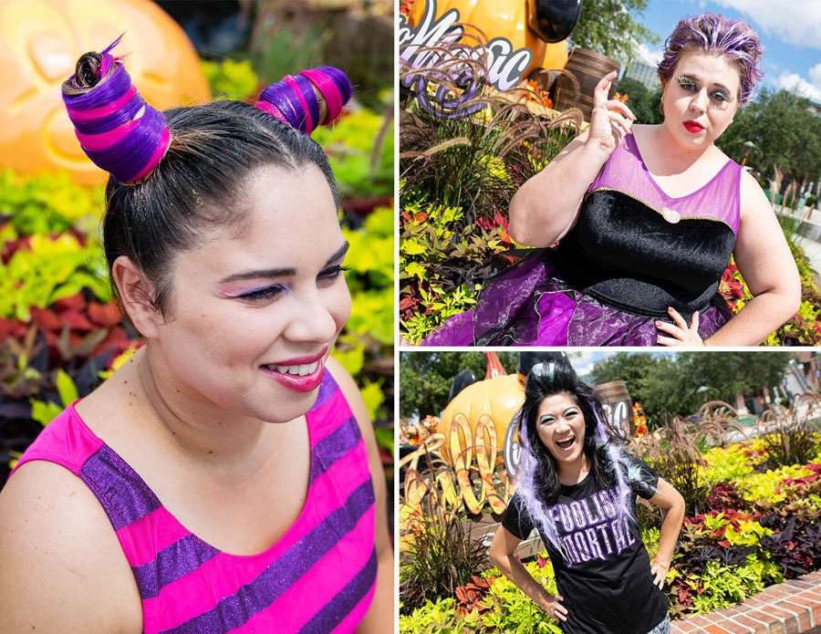 Three DisneyStyle and Character Couture looks including Madame Leota, Ursula, and the Cheshire Cat