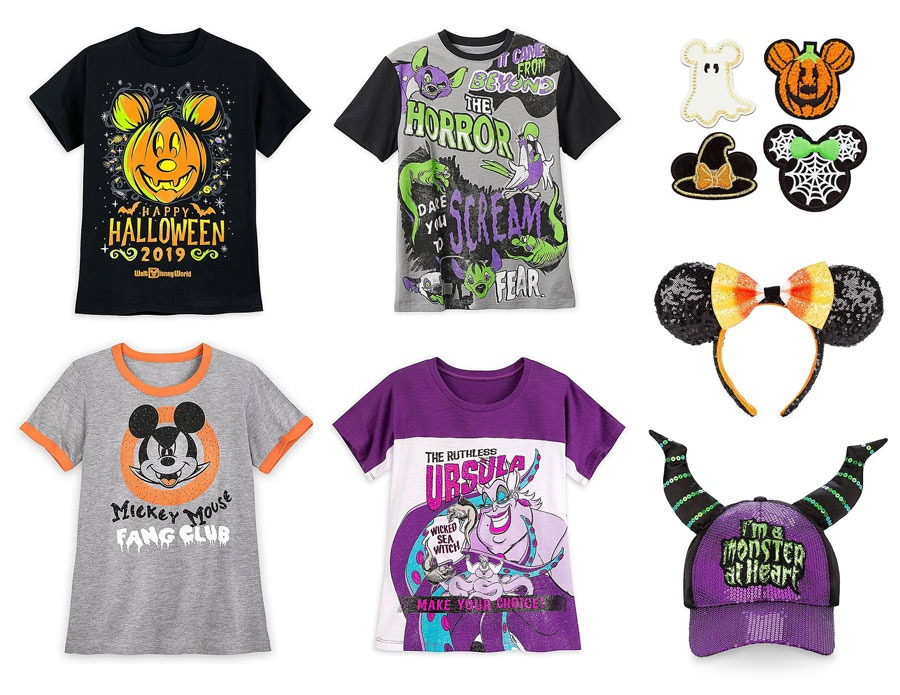 Seleciton of Halloween 2019 T-shirts and accessories (hat, Minnie ear headband and pins) found at DisneyStyle at DIsney Springs
