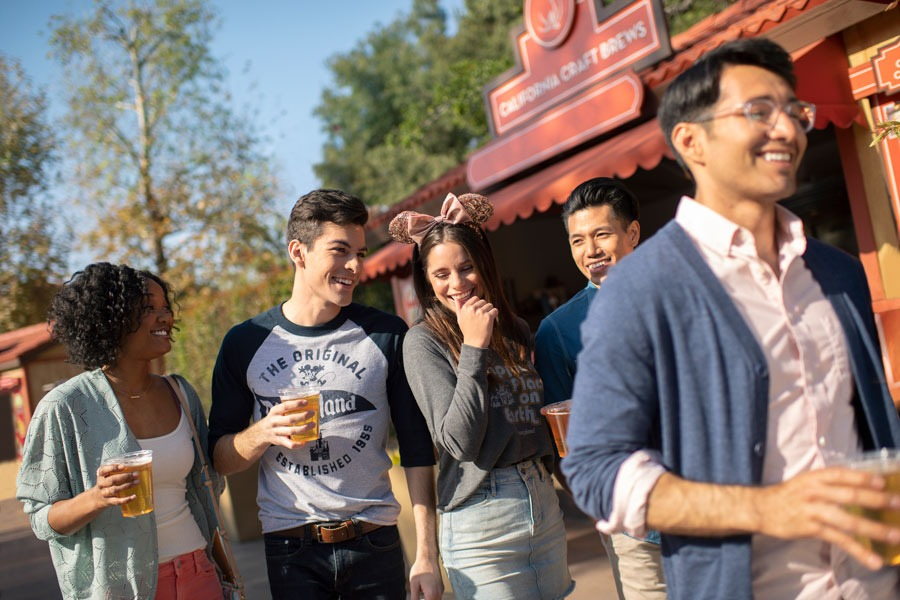 Group of guests samples drinks at the Disney California Adventure Food & Wine Festival