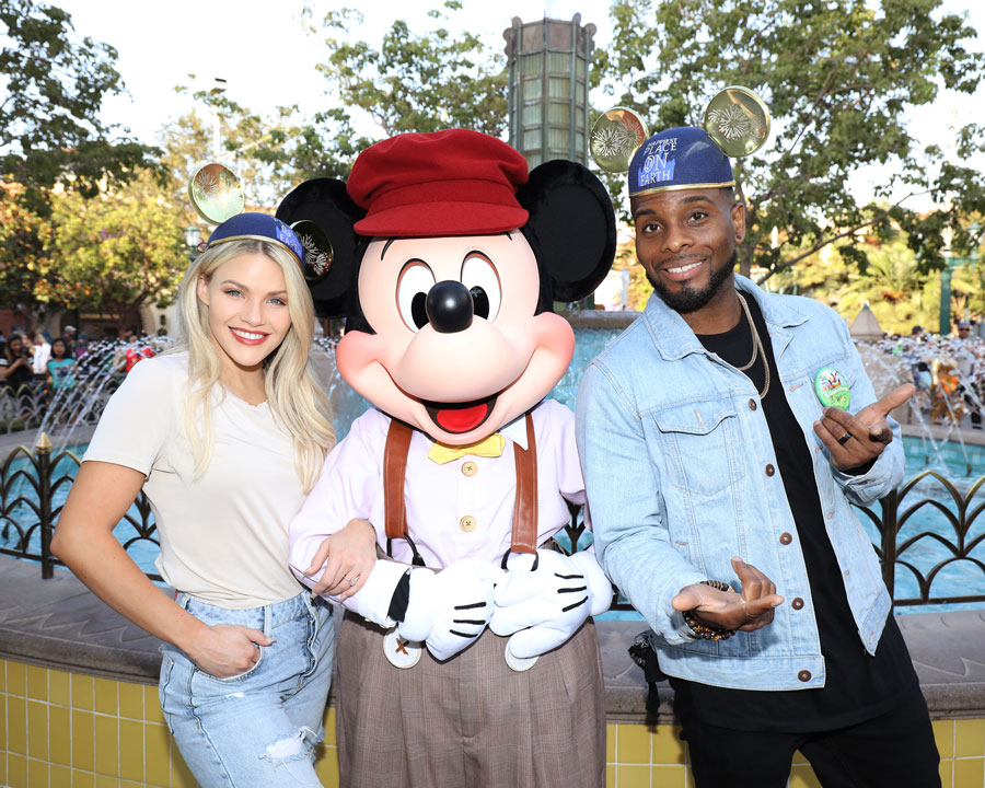 """""""Dancing with the Stars"""" Professional dancer, Witney Carson, and her partner, Comedian Kel Mitchell, posed with Mickey Mouse."""