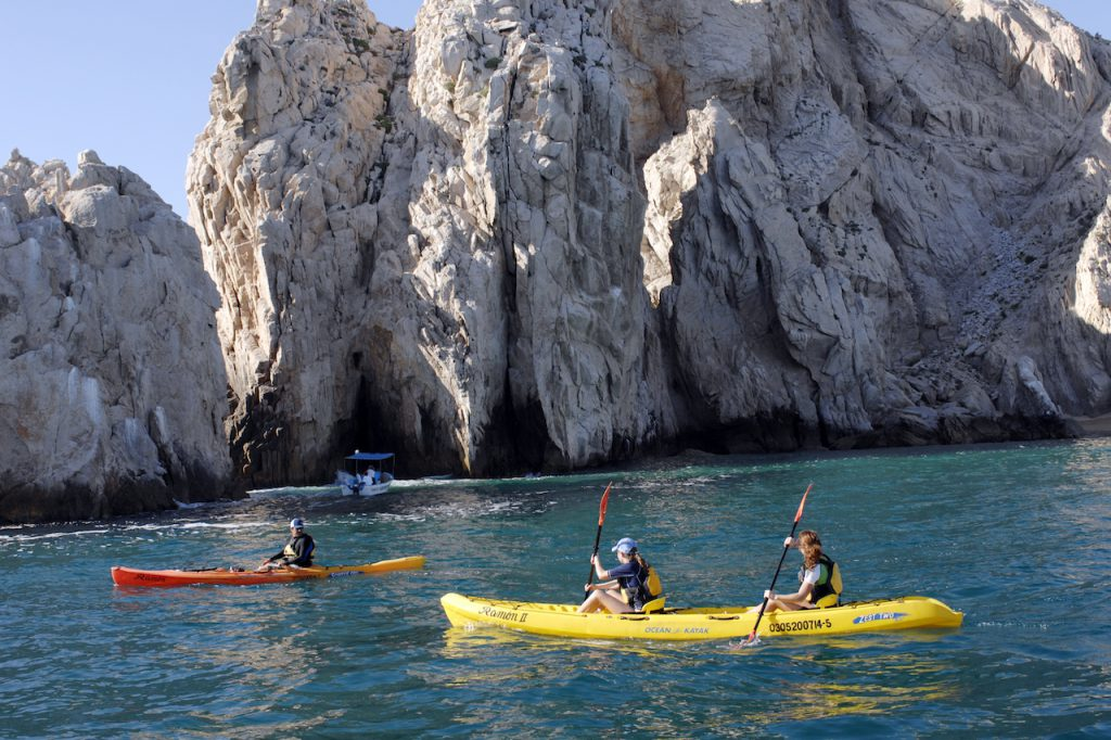 Guests kayaking in Cabo San Lucas