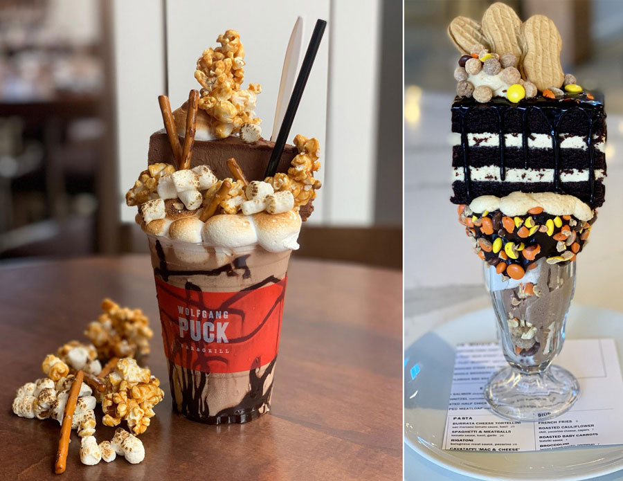 Campfire Sundae and Peanut Butter Wafer Sundae from Wolfgang Puck Bar & Grill