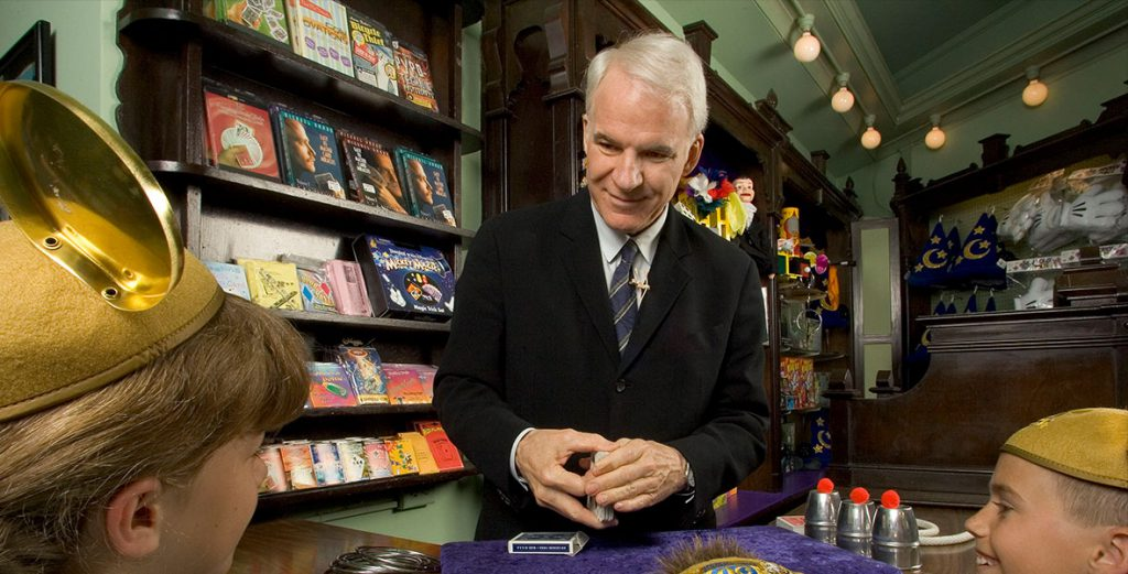 Disney Legend Steve Martin returns to his roots at the Main Street Magic Shop in Disneyland. © Disney