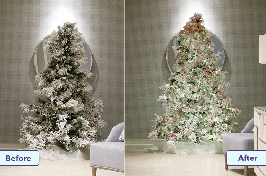 Christmas tree before and after at Orlando Fisher House