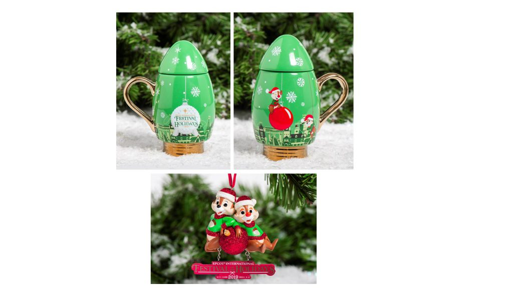 Chip 'n' Dale light bulb mug and dated ornament
