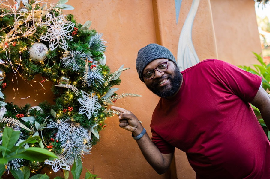 Trenton Martin shows off handmade snowflake at Disney's Animal Kingdom