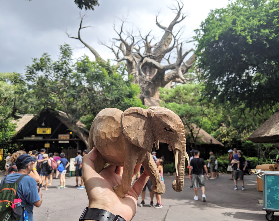 Elephant wood carving from Mombasa Marketplace at Disney's Animal Kingdom