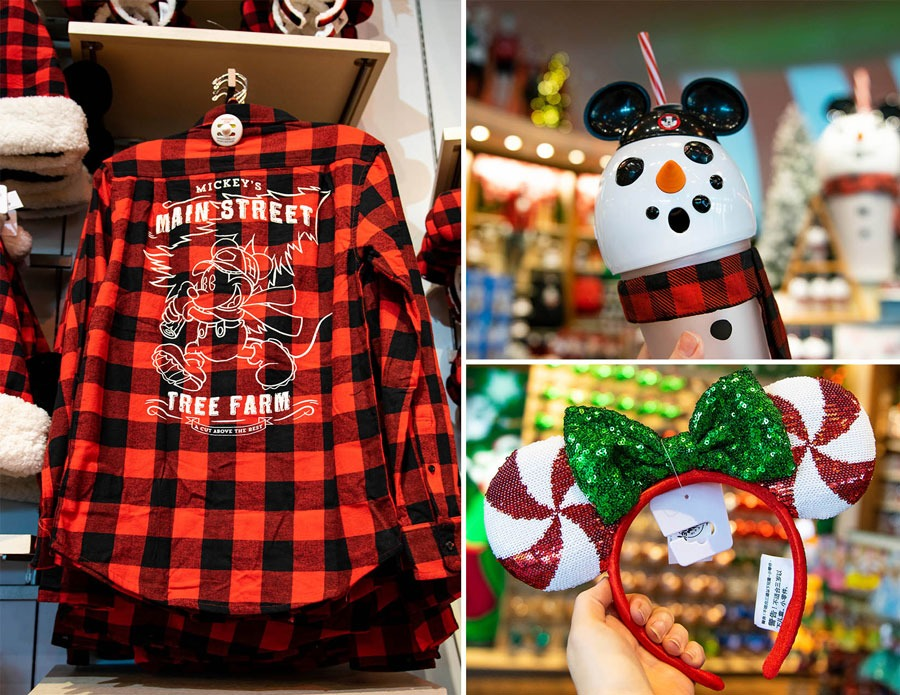 Holiday merchandise from World of Disney at Disney Springs: Yuletide Farmhouse collection buffalo plaid longsleeve shirt, snowman light-up tumbler and holiday Minnie Mouse headband featuring a candy cane design