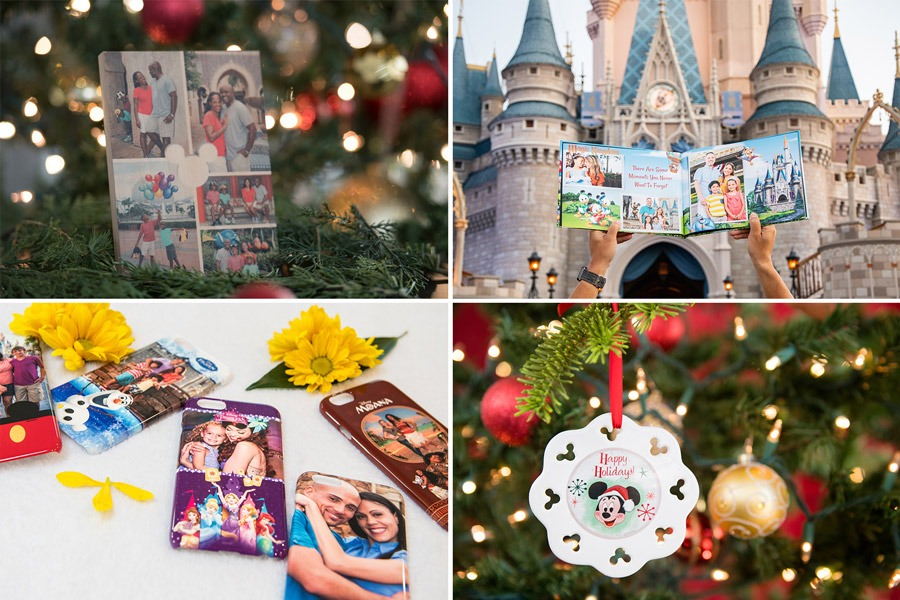 Collage of Disney PhotoPass gift items - photo canvas, photo book, phone cases and ornament