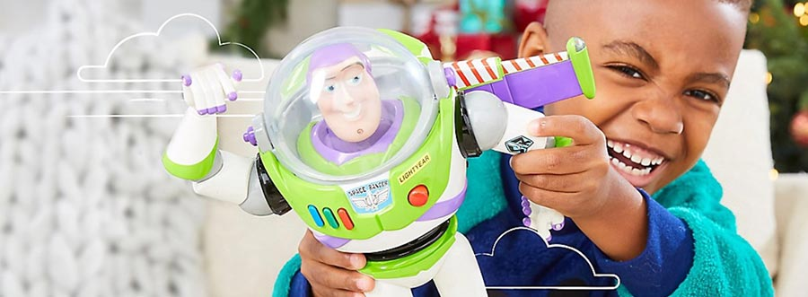 Child playing with Buzz Lightyear toy.