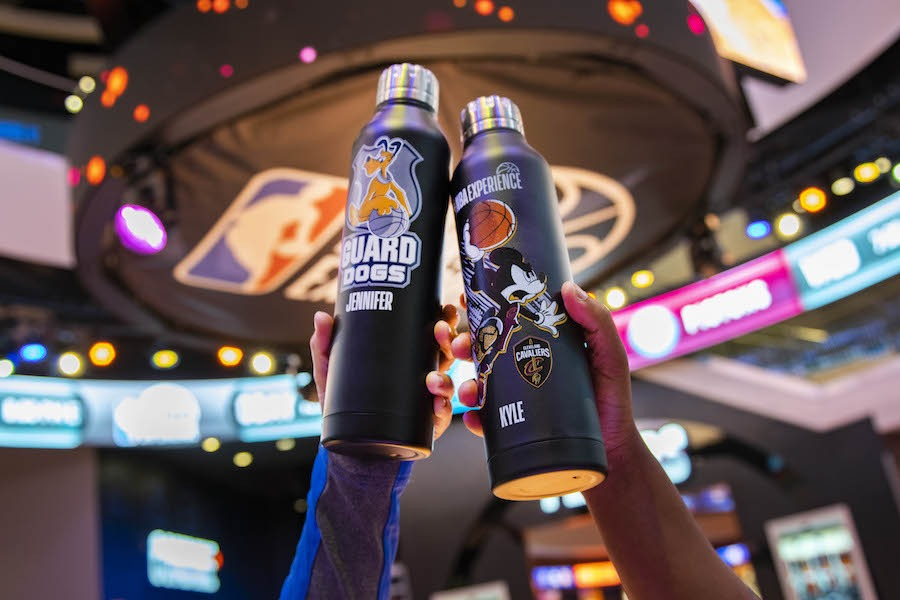 Personalized water bottles from the NBA Store at Disney Springs