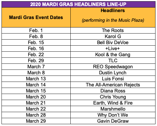 Marshmello, Luis Fonsi, TLC And More To Perform Live At Universal Orlando Resort's 2020 Mardi Gras Celebration 3