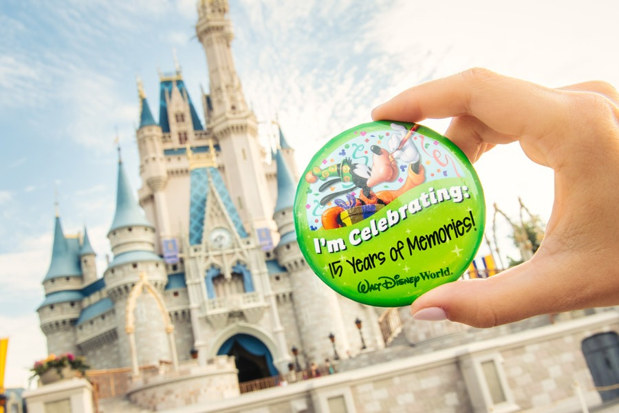 "I'm Celebrating ""15 Years of Memories"" Pin in front of Cinderella Castle at Magic Kingdom Park"