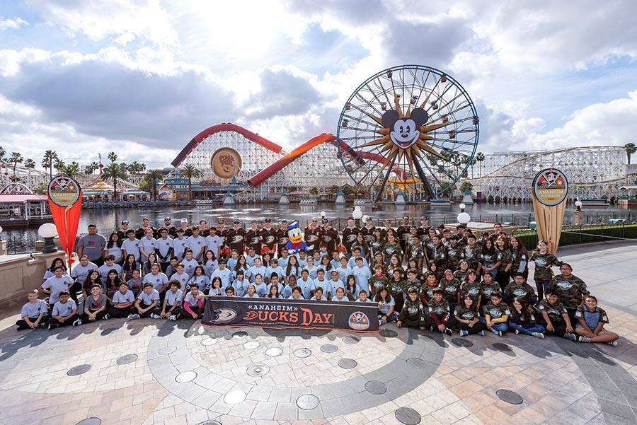 Anaheim Ducks with participants from Anaheim Ducks Day, at Disney California Adventure park
