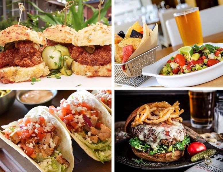 Collage of food at Disney Springs