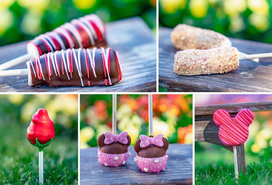 2020 Valentine's Season Offerings at Disneyland Resort - Dark Chocolate Marshmallow Wand, Strawberry Shortcake Marshmallow Wand, Red Rose Cake Pop, Pink Minnie Cake Pop, Strawberry Cake Pop
