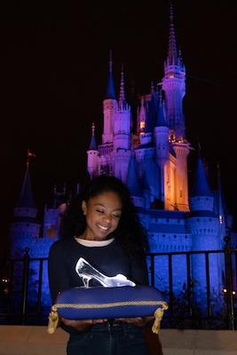 Girl with Cinderella's glass slipper