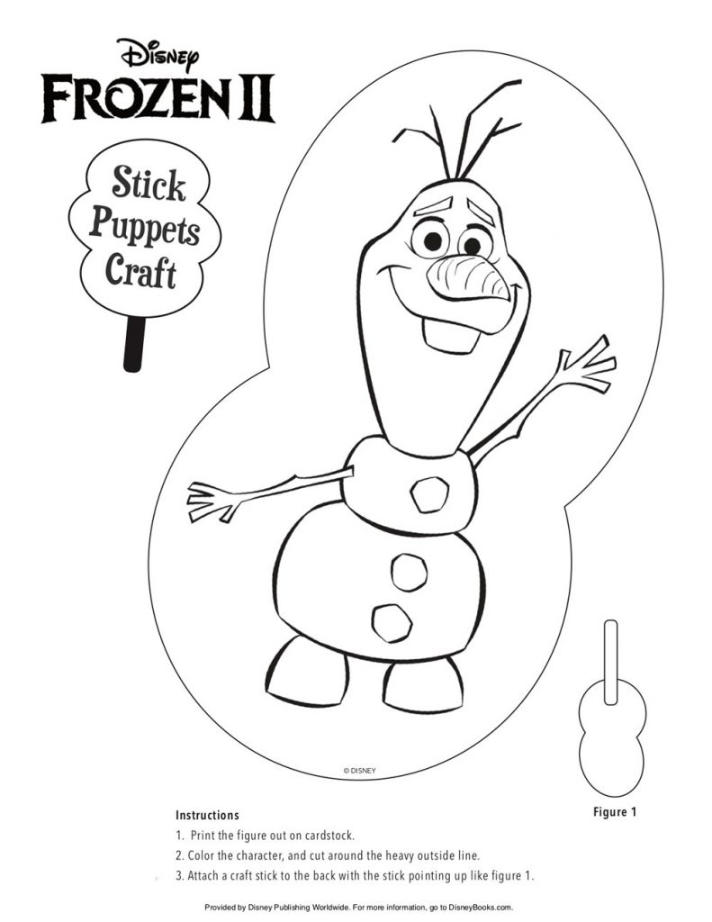 Disney Frozen II Stick Puppets Craft – Olaf