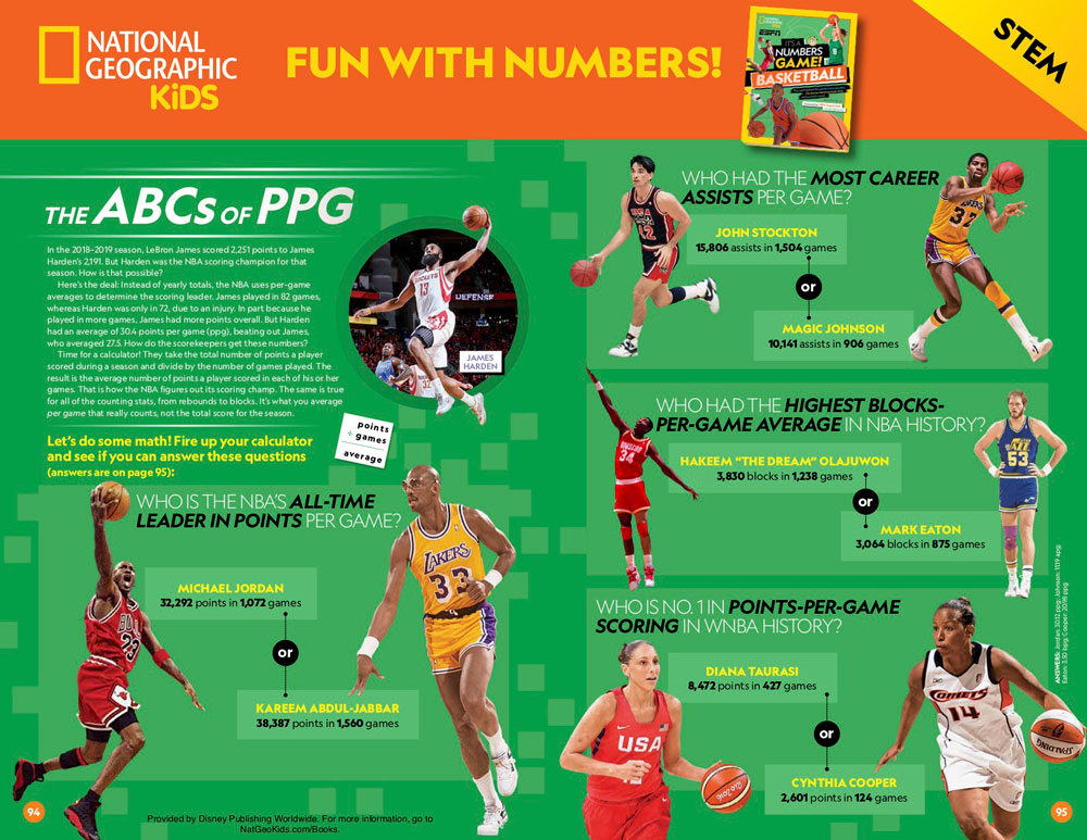 National Geographic Kids It's A Number's Game – Basketball Worksheet