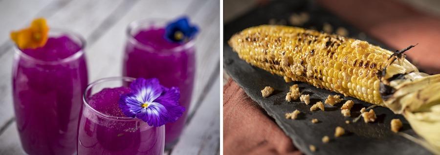 Frozen Desert Violet Lemonade Slush and Grilled Street Corn from the 2020 EPCOT International Flower & Garden Festival
