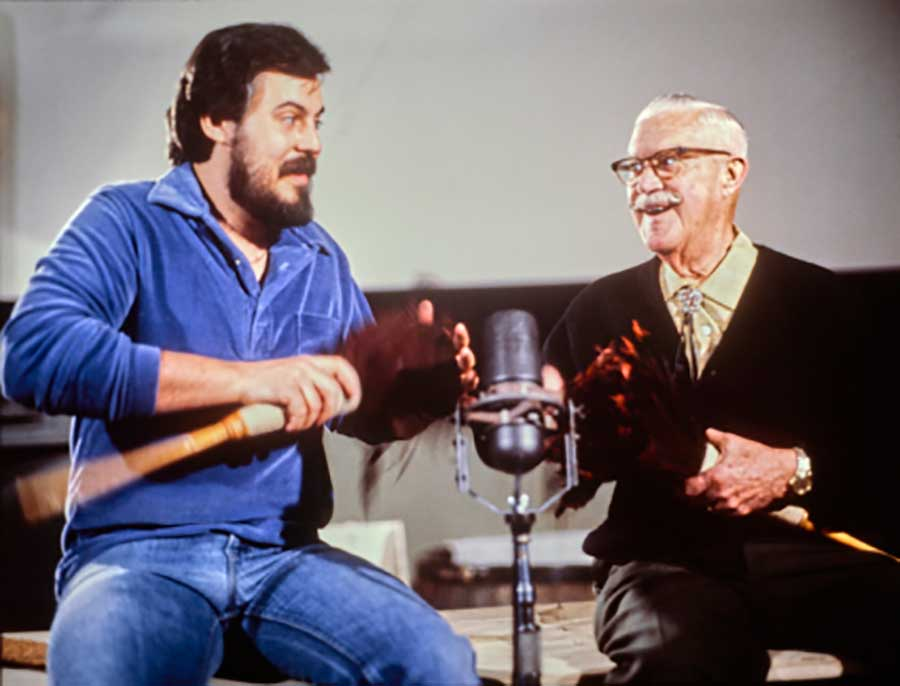 Wayne Allwine (left) and Jimmy Macdonald, sound sorcerers, Disney Legends, and caretakers of Mickey's voice.