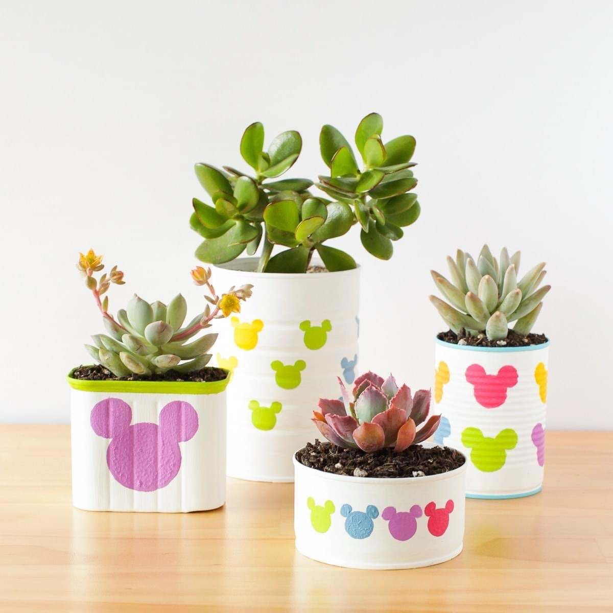 DIY Tin Can Mickey Mouse Planters 1